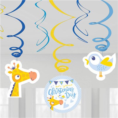Christening Day Blue Swirl Decorations - 60cm