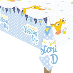 Christening Day Blue Plastic Tablecover - 1.8m x 1.2m