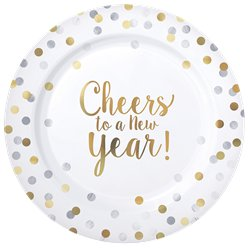 'Cheers to a New Year' Premium Plastic Plates - 26cm