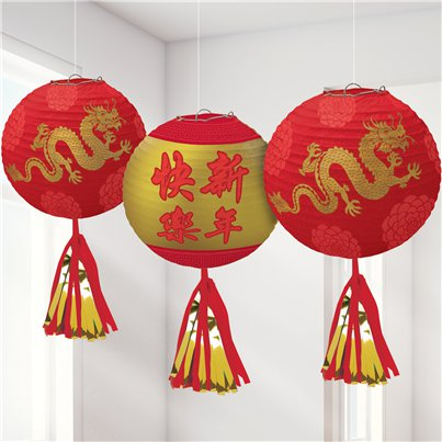 Chinese New Year Deluxe Hanging Lanterns with Tassels