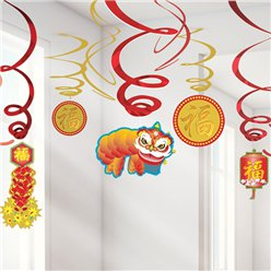 Chinese New Year Hanging Swirl Decorations -  60cm