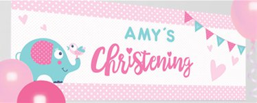 Christening Day Pink Personalised Banner - 1.2m