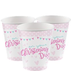 Christening Day Pink Cups - 255ml Paper Party Cups