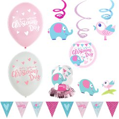 Christening Day Pink Room Decorating Kit - 14 Pieces