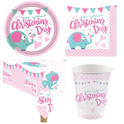 Christening Day Pink Party Pack - Value Pack For 8