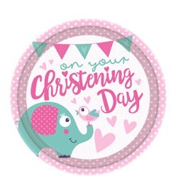 Christening Day Pink Plates - 23cm Paper Party Plates