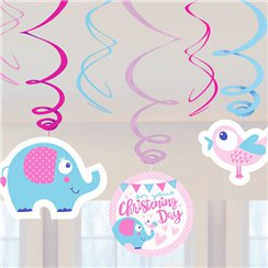 Christening Day Pink Swirl Decorations - 60cm