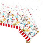 Circus Carnival Tablecover - 1.37m x 2.13m Plastic Tablecover