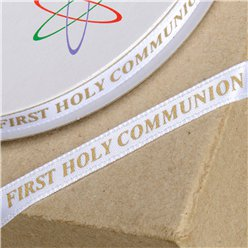 White & Gold First Holy Communion Ribbon - 25m