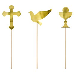 First Holy Communion Gold Cupcake Toppers - 3 Designs
