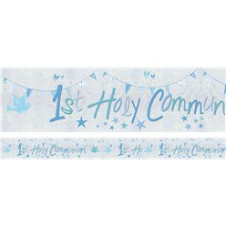 First Holy Communion Blue Holographic Foil Banner - 2.7m