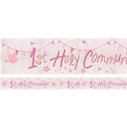 First Holy Communion Pink Holographic Foil Banner  - 2.7m