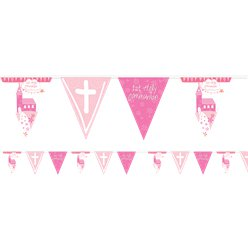 First Holy Communion Pink Foil Bunting - 4m