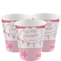 First Holy Communion Pink Cups - 266ml Paper Party Cups