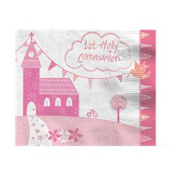 First Holy Communion Pink Napkins - 33cm