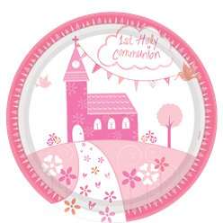 First Holy Communion Pink Plates - 23cm Paper Party Plates
