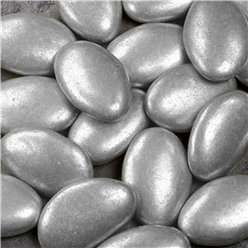 Silver Metallic Chocolate Dragees - 1kg - 250 per box