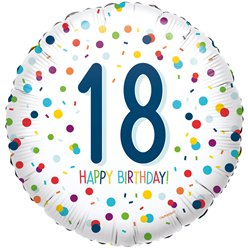 "Confetti Birthday Age 18 Balloon - 18"" Foil"