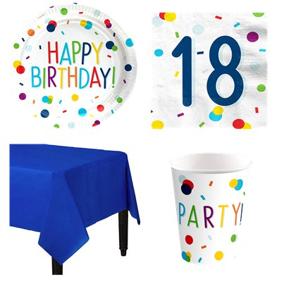 Confetti Birthday 18th Party Pack - Value Pack for 8