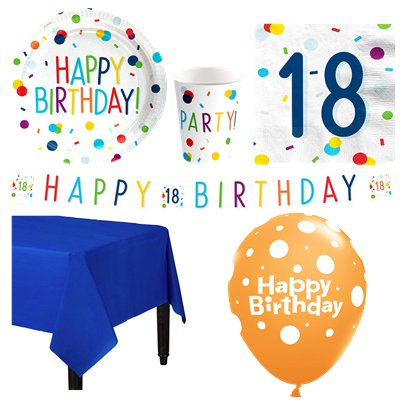 Confetti Birthday 18th Party Pack - Deluxe Pack for 8