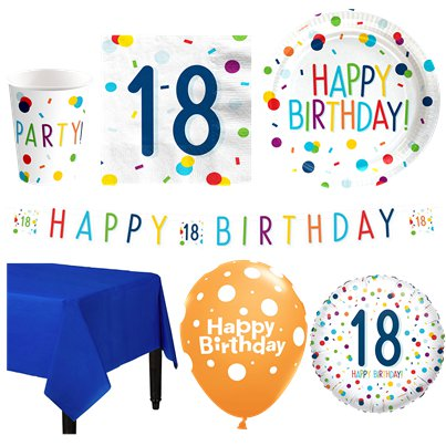 Confetti Birthday 18th Party Pack - Deluxe Pack for 16