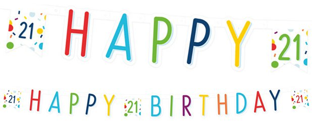 Confetti Birthday Age 21 Letter Banner