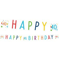 Confetti Birthday Age 40 Letter Banner
