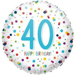 "Confetti Birthday Age 40 Balloon - 18"" Foil"