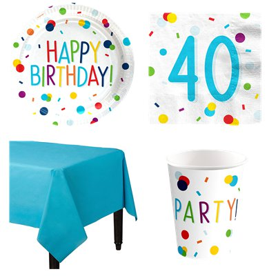 Confetti Birthday 40th Party Pack - Value Pack for 8