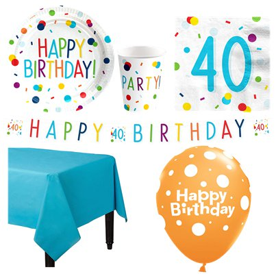Confetti Birthday 40th Party Pack - Deluxe Pack for 8