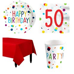 Confetti Birthday 50th Party Pack - Value Pack for 8