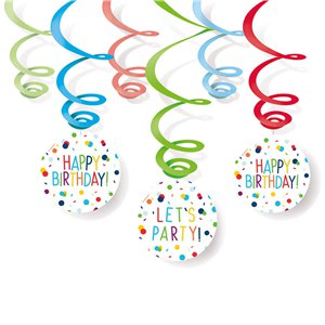 Confetti Birthday Hanging Swirls