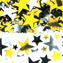 Black Silver & Gold Star Table/Invite Confetti - Value Pack