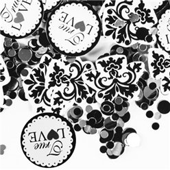 'True Love' Black and White Wedding Table Confetti