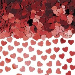 Red Sparkle Hearts Metallic Confetti - 14g