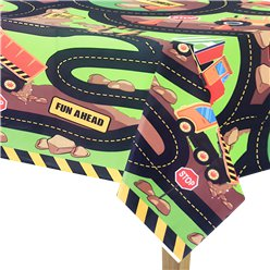 Construction Party Plastic Tablecover - 1.37m x 2.13m