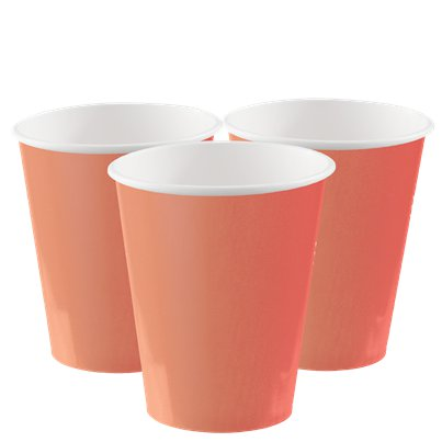Coral Cups - 266ml Paper Party Cups