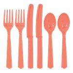 Coral Plastic Cutlery - Assorted Party Pack