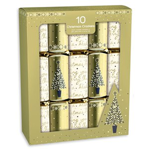 Cream and Gold Christmas Crackers - 30cm
