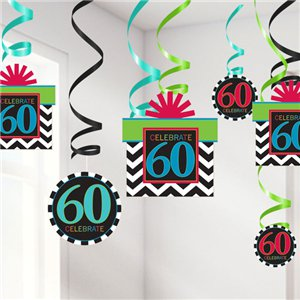 60th Birthday Hanging Swirls - 60cm Party Decorations