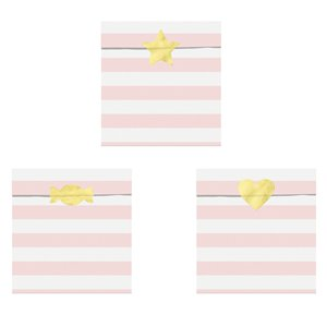Light Pink Stripe Paper Treat Bags - 14cm