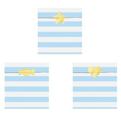 Light Blue Stripe Paper Treat Bags - 14cm