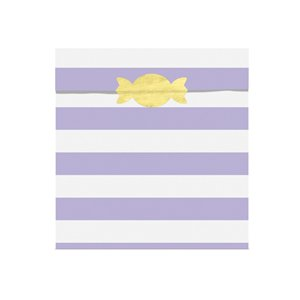 Lilac Stripe Paper Treat Bags - 14cm