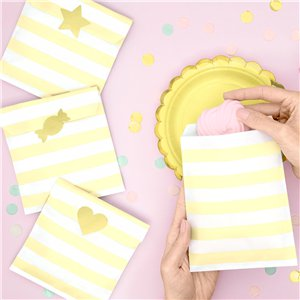 Pastel Yellow Stripe Paper Treat Bags - 14cm