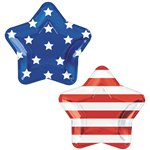 Celebrate USA Star Shaped Foil Plates - 27cm