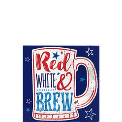 Red, White & Brew Beverage Napkins - 25cm