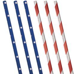 Celebrate USA Metallic Paper Straws