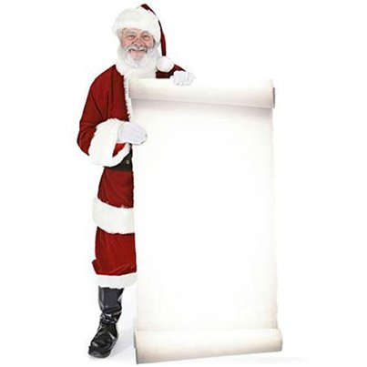 Santa with Large Message Sign Cardboard Cutout - 1.8m