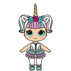 91cm Doll with Unicorn Horn 1 (Cardboard Cutout)