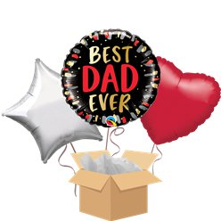 Best Dad Ever Balloon Bouquet - Delivered Inflated